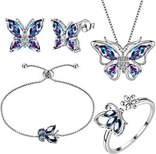 Aurora Tears Butterfly Jewelry Women 925 Sterling Silver Butterflies Necklace/Earrings/Rings Wedding Gift