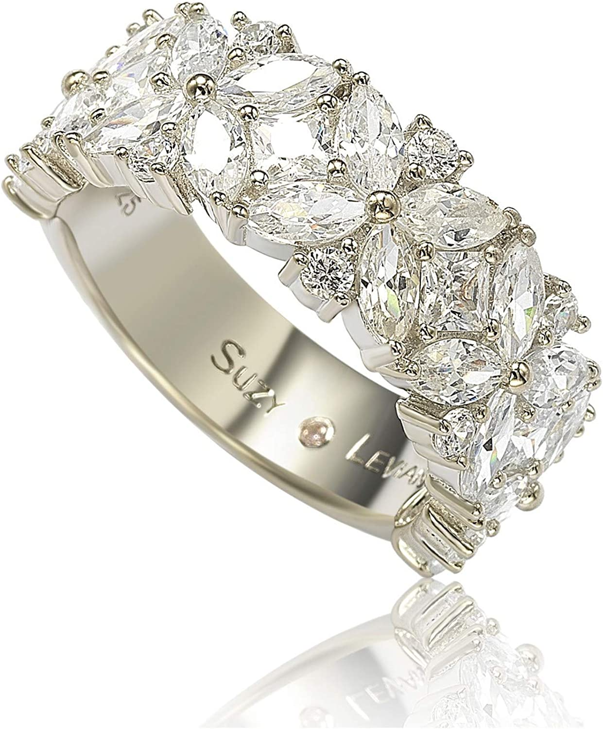 Suzy Levian Japan's largest assortment Sterling Silver Cubic Zirconia R Award Floral 4 3 Eternity