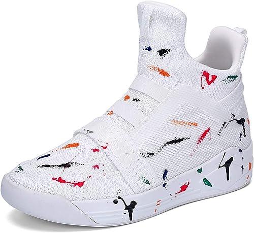 YAN zapatos Unisex Mesh Fall & Winter zapatos para Hombre mujer zapatos de tacón Alto Hauszapatos elásticas, Casual Diario zapatos blancoos