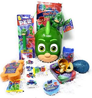 DIY Happy Easter Basket PJ MASKS GEKKO Kids Toddlers Boys Girls Plush Stuffed Toy Toys Unique Themed Stuffers Egg Eggs Gifts Goodies Activities Artificial Grass Decorations Party Favors Bow Bag