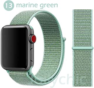 絶妙なFor Apple Watchシリーズ5 4 3/2/1バンド用バンド38ミリメートル42ミリメートルナイロンソフト通気性交換スポーツループFor iwatch 5 4 3 2 40ミリメートル44ミリメートル-marine green-42mm or 44mm