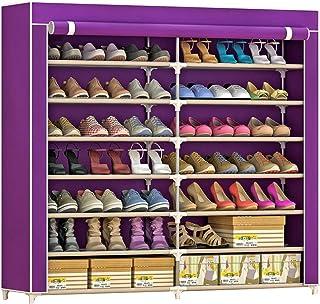 IBEQUEM Meuble à chaussures en tissu non tissé anti-poussière avec 7 niveaux de rangement Armoire à chaussures indépendant...