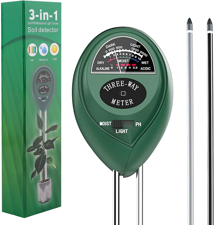 ATUIO - 3 en 1 Humedad del Suelo, Medidor de Suelo, Medidor de pH Medidor de [Luz] [Humedad] [Ácido] [Álcali], Medidor de Humedad de Plantas [no Requiere Pilas] para Plantas de Suelo/Flor/Césped