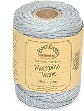 50M spoelen - Everlasto Single Twist zacht katoen gekleurde Macrame Craft touw 38/6 (4mm ongeveer) (zilver)
