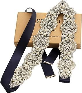 Yanstar Rhinestone Crystal Pearl Belts Wedding Bridal Belts Bridal Sashes