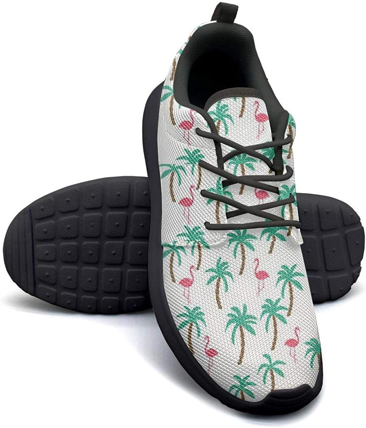 Gjsonmv Tropical Palm Trees Flamingos mesh Lightweight shoes for Women lace up Sports Baseball Sneakers shoes