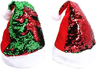 2 Pcs Reversible Sequin Santa Hats for Adults & Kids – Christmas Hat Sparkle Red/Green Color Flip Up Sequins - Personalized Xmas Holiday Fun Decoration, Party Accessories Supplies