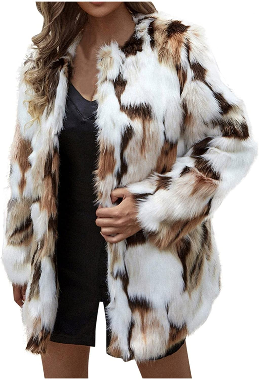 Baoiwei Women's Luxury Fluffy Faux Fur Coat Jacket Winter Warm Open Front Parka Fashion Printed Thick Overcoat Outerwear