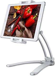 """Jubor Kitchen Tablet Mount Stand, Wall Mount/Under Cabinet CounterTop Desktop Recipe Holder for 5""""-12.9"""" Tablets iPad Pro 12.9/7/Air/Mini, Galaxy Tab S3 9.7, Surface Pro, Nintendo Switch"""