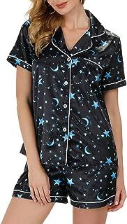 Zexxxy Satin Pajama Set for Women Notch Collar Button Down Printed Sleepwear S-XXL