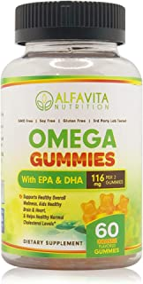 AlfaVita Nutrition Omega 3 Gummies- EPA and DHA Gummies- Healthy Heart, Enhanced Brain and Overall Wellness- Normal Choles...