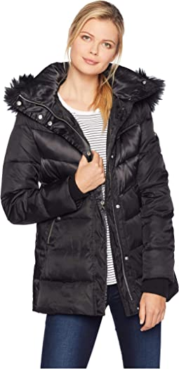 Short Down Jacket with Storm Cuff and Faux Fur R1331