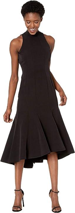 Sleeveless Mock Neck Piped Midi Dress