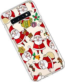 Qjuegad Compatibile con Samsung Galaxy S10 Custodia Ultra Sottile TPU Trasparente con Natale Fiori Disegni Gel Antiurto An...