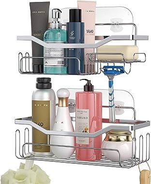 HapiRm Shower Caddy Shower Storage Rack with 11 Hooks for Hanging Shower Ball and Razor, Shampoo Holder Organizer No Drilling