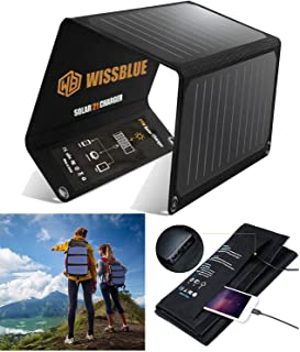 Portable Foldable Solar Panel Charger, 21W Dual USB 2.4A Fast Solar Charger, Solar Phone Charger for Outdoor, Camping, Eme...