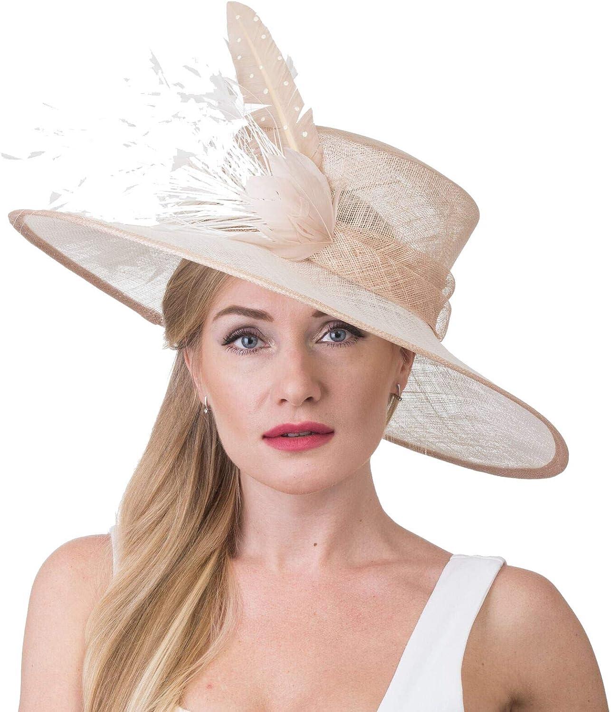 Kentucky Derby Hat, Church Hat, Wedding Hat, Easter Hat, Tea Party Hat Wide Brim Woman's Sinamay Hat 7504
