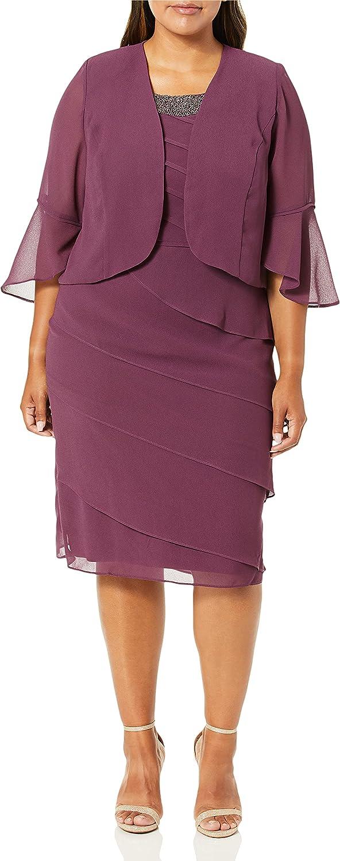 Le Bos Women's Beaded Neckline Tierd Jacket Dress