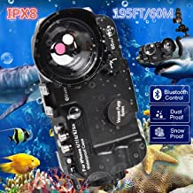 BECROWMUS Bluetooth Control iPhone 6/7/8/X/XS/XR 195FT/60M IPX8 Waterproof case Professional Diving Underwater Swimming Surfing Snorkeling House Photo Video with Wide Angle Dome Port Lens Black