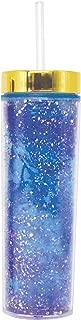 4SGM BO1700072 Bewaltz Glitter Skinny Tumbler Double Wall Travel Mug, 16 oz, Multi