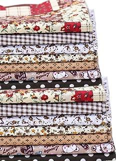 14 Pieces Assorted 7 Designs Cotton Square Fabric Bundles Sewing Square Patchwork Precut Fabric Scraps for DIY Quilting Applique Doll Dress Making (Khaki)