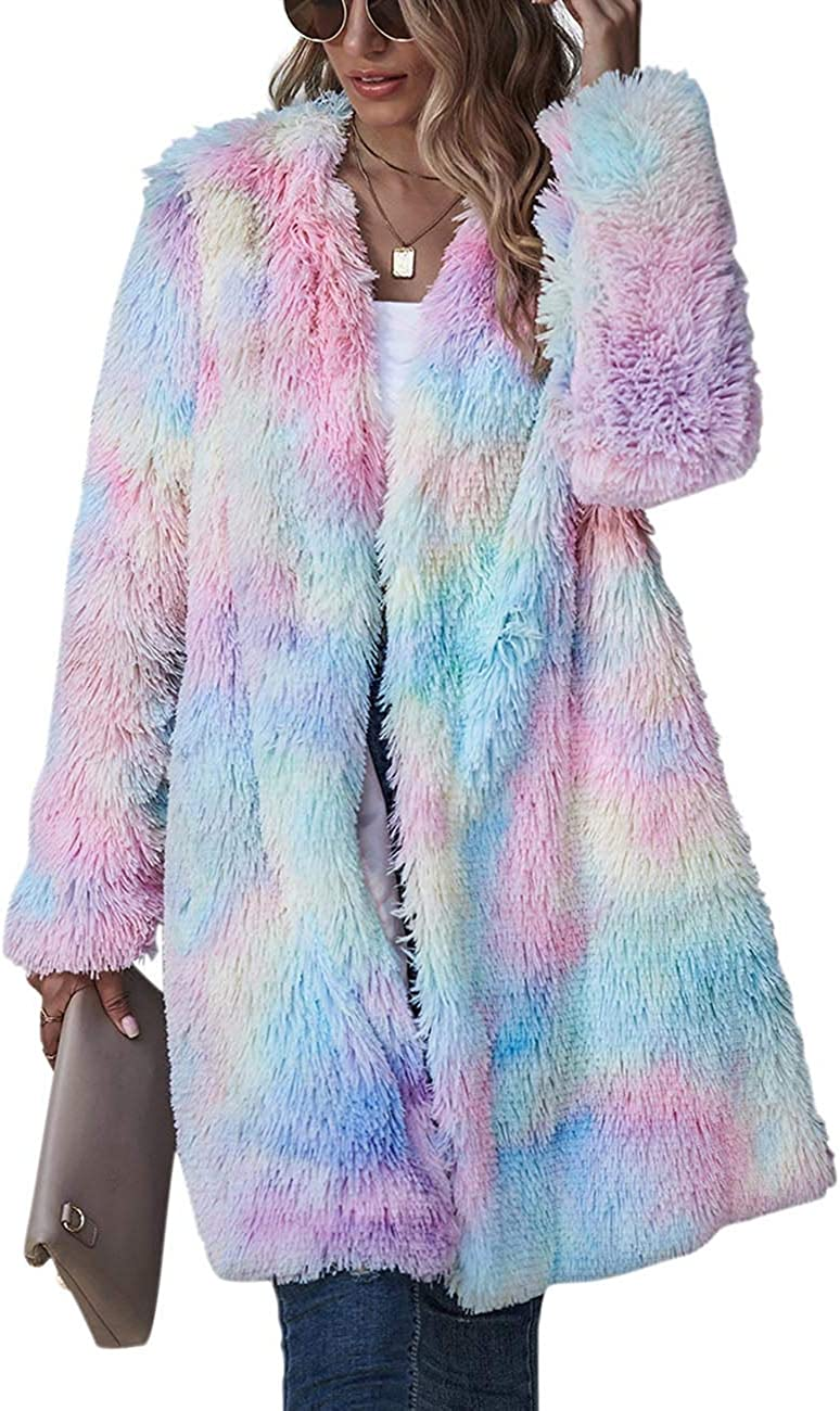 ECDAHICC Women's Rainbow Tie Dye Fuzzy Fleece Long Sleeves Jackets Wool Faux Fur Teddy Bear Long Cardigan Coat Outwear