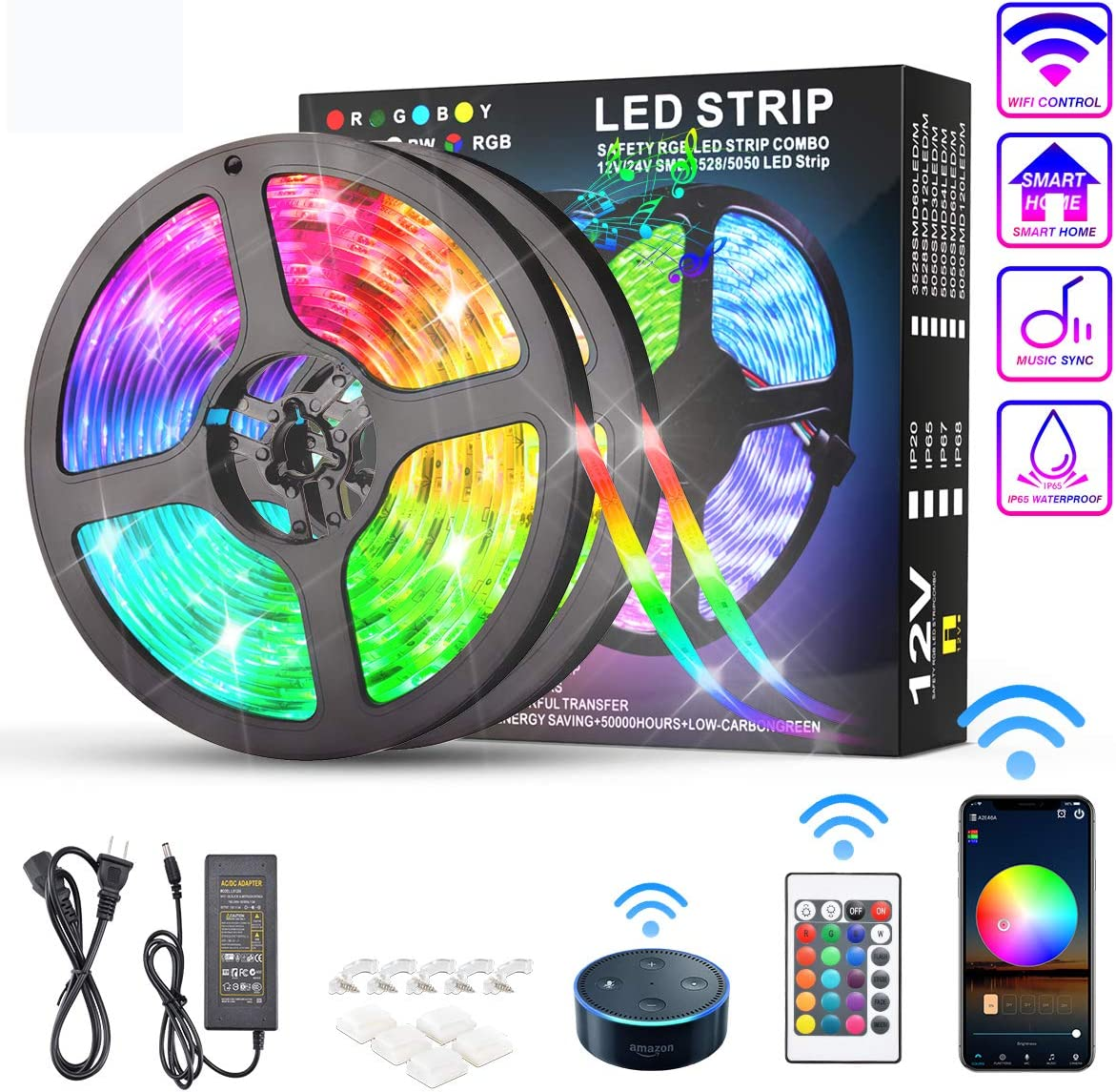 KATUR LED Strip Lights 32.8ft Cash special price with Works Japan Maker New Google Assistant Alexa