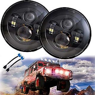 Jeep JK Wrangler LED Headlights - 7'' Round Black Cree LED Headlight High Low Beam for Jeep Wrangler JK TJ LJ CJ H1 H2 (DO...