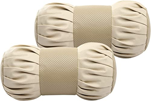 Auto Hub Dumbell Shape Car Neck Rest Pillow Cushion for All Cars - Pack of 2 (Beige)