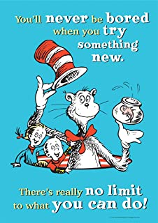 Eureka Dr. Seuss Cat in The Hat 'Try Something New' Classroom Poster, 13'' W x 19'' H