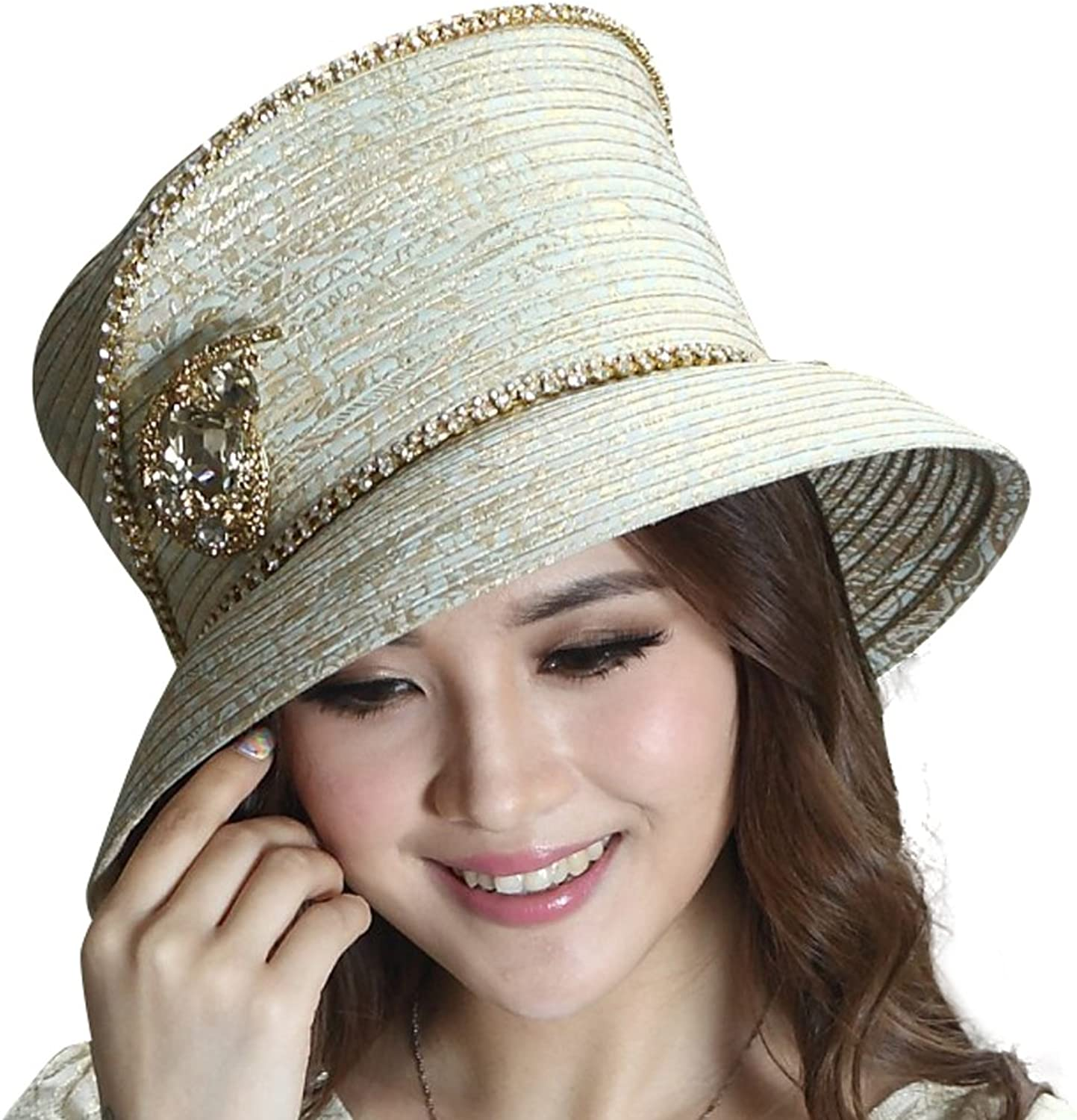 June's Young Fashion Ladies Church Hat Satin Hat gold Fabric Flower