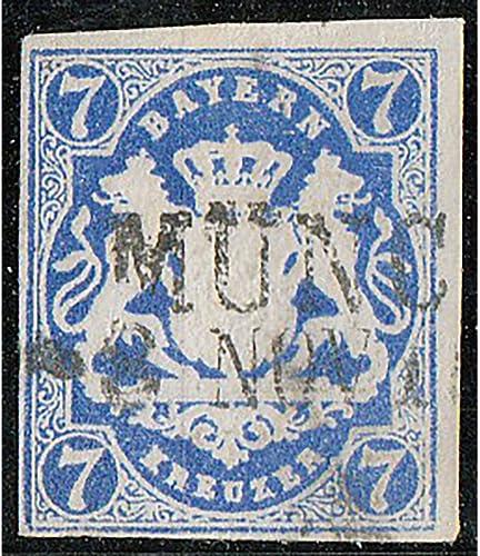 Goldhahn Bayern Nr. 21c gestempelt geprüft und signiert Brettl Briefmarken für Sammler