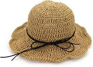Summer Straw Hats, Summer Boater Hats Straw Sun Hat Lace Ribbon Bowknot Beach Hat Floppy Travel Folding Hat For Women (Color : Brown)