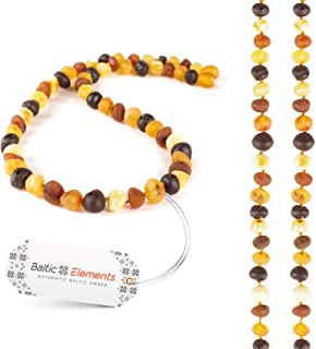 Baltic Elements Amber Necklace for Adults Women & Men, Handcrafted of First-Rate Raw Baltic Amber Beads, Natural Immunity ...