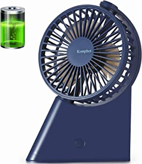 Komphot Battery Operated Fan USB Personal Desktop Fan with 3 Speeds 135°Rotation and Strong Wind Rechargeable Quiet Small Tabletop Fan Portable fan for Office Home School Travel Camping