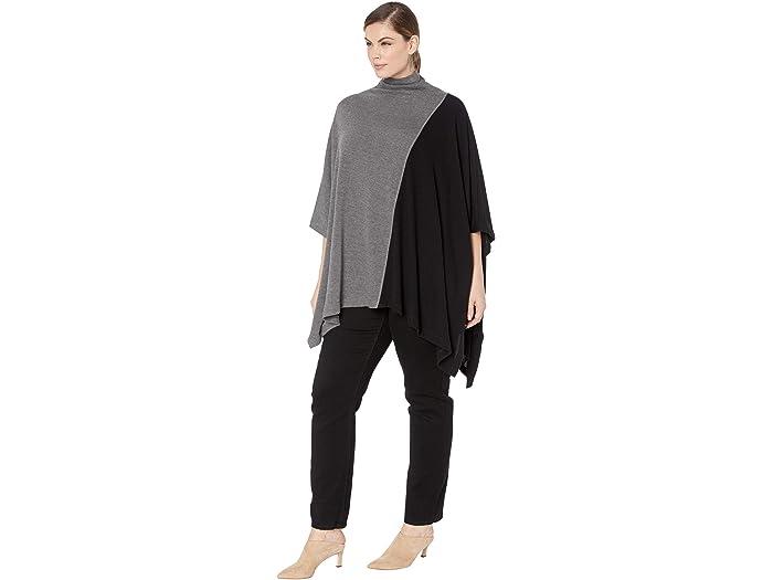 Karen Kane Plus Poncho De Cuello Embudo Talla Grande Contrast Dark Heher Grey/black Cos & Outerwear