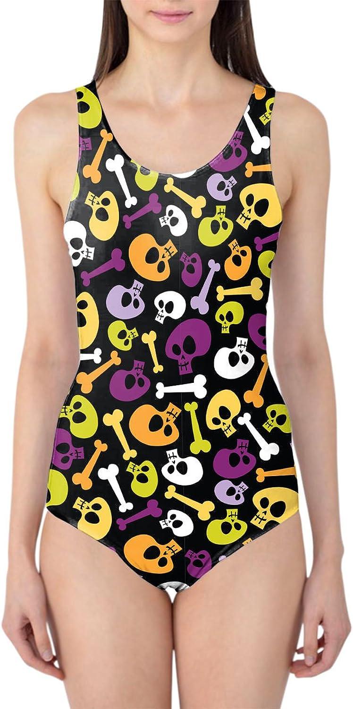 Cartoon Halloween Skulls Woherren Swimsuit Badeanzug XS-3XL