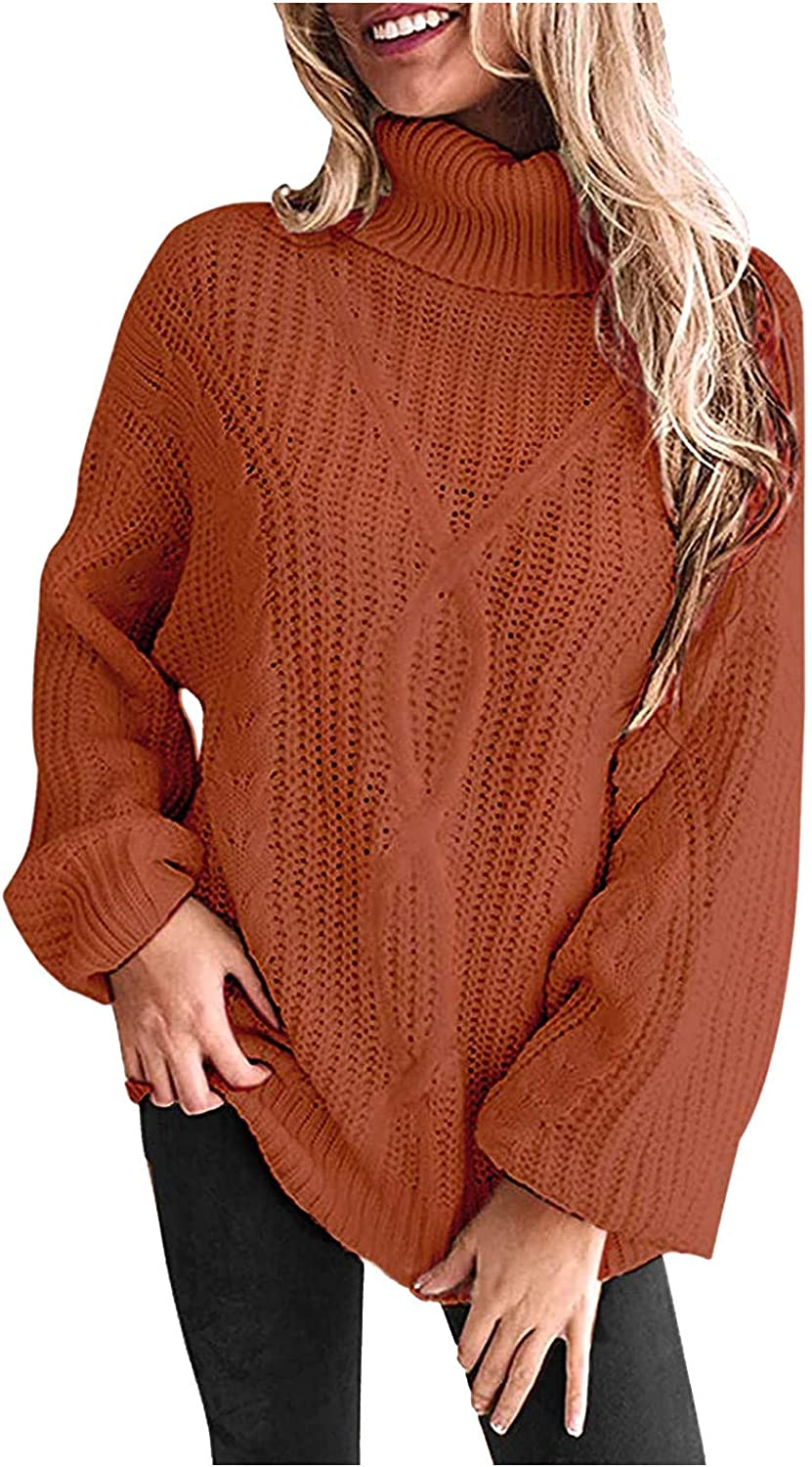 FABIURT Sweaters for Women, Womens Fashion Turtleneck Long Sleeve Casual Loose Chunky Knit Pullover Sweater Jumper Tops