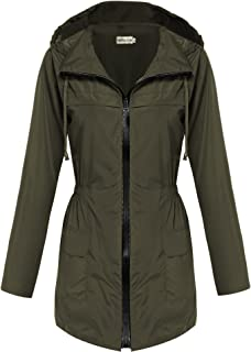 Womens Lightweight Travel Trench Slightly Waterproof Raincoat Hoodie Windproof Hiking Coat Packable Rain Jacket
