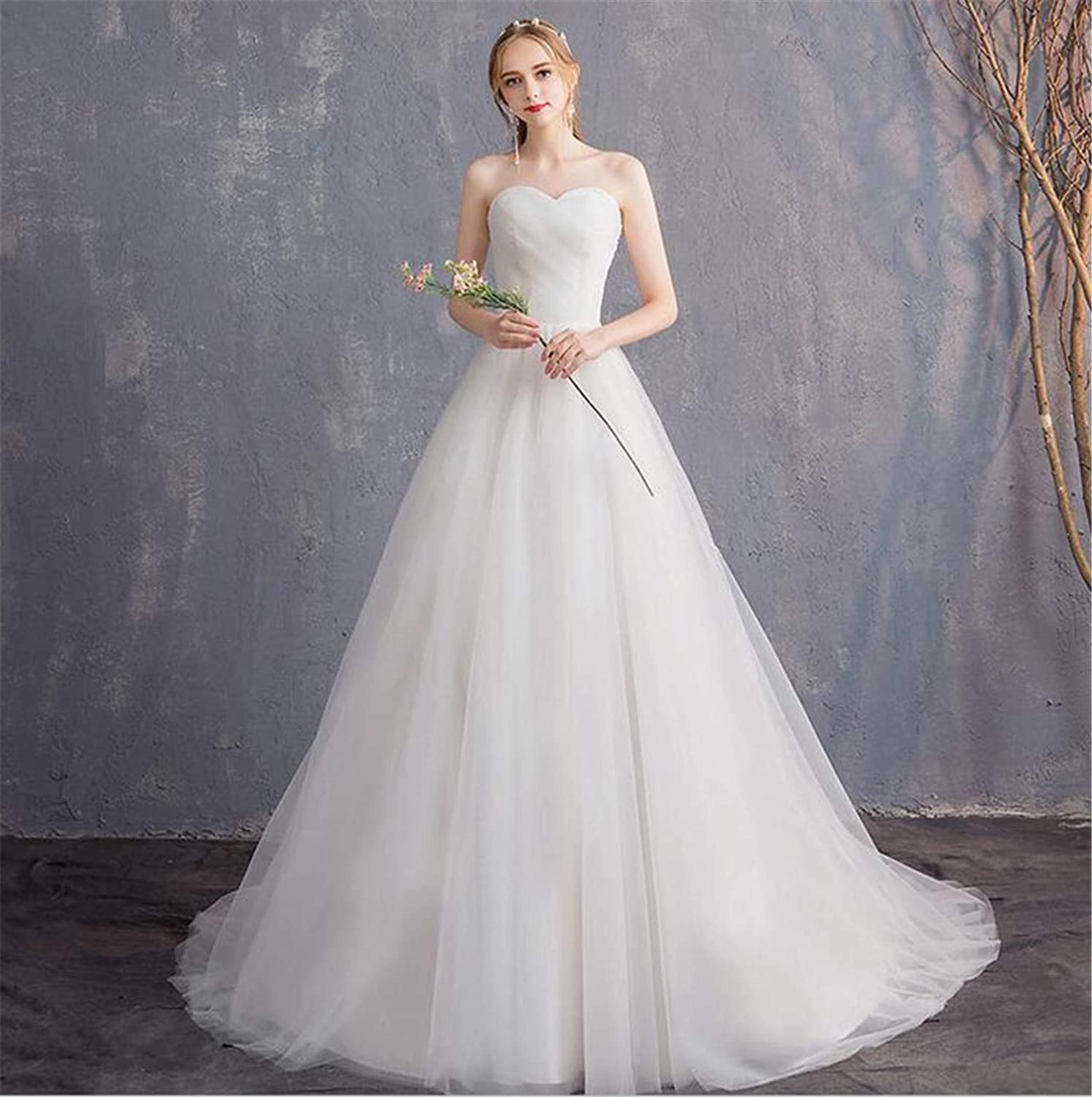 Wedding Dress, Bride Tube Top Bridesmaid Open Back Mesh Line A Sexy Slim Fit Luxurious Europe and America Elegant Evening
