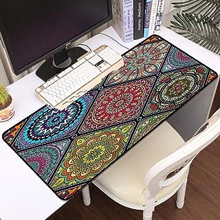 Luoquan Alfombrilla Raton Grande Gaming Mouse Pad,Patrón geométrico Floral Tribal étnico Motivo de Mandala Bohemio Decorac...