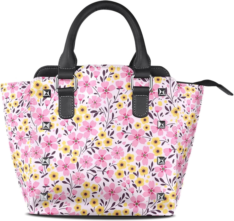 My Little Nest Women's Top Handle Satchel Handbag Spring Pink Yellow Ditsy Flowers Ladies PU Leather Shoulder Bag Crossbody Bag