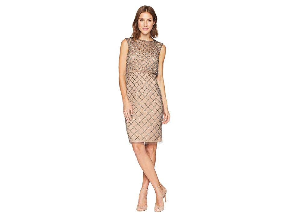Adrianna Papell Fully Beaded Cap Sleeve Cocktail Dress (Lead Nude) Women