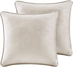 Intelligent Design 18x18 Chenille Square Pillow Pair, ID30-1625, Polyester, Ivory, See Below
