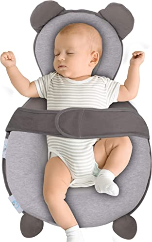 BIBLY BABY Portable Baby Bed | Prevent Flat Head Syndrome | Thick Newborn Lounger Bed for Comfortable Sleep | Baby Pi...