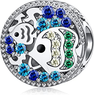 Mermaid Charms fit Pandora Charms Bracelet 925 Sterling Silver Charms Luck Bead with Blue Cubic Zirconias Ocean Sea Charm for Snake Bracelets Necklace Women Girls Gift