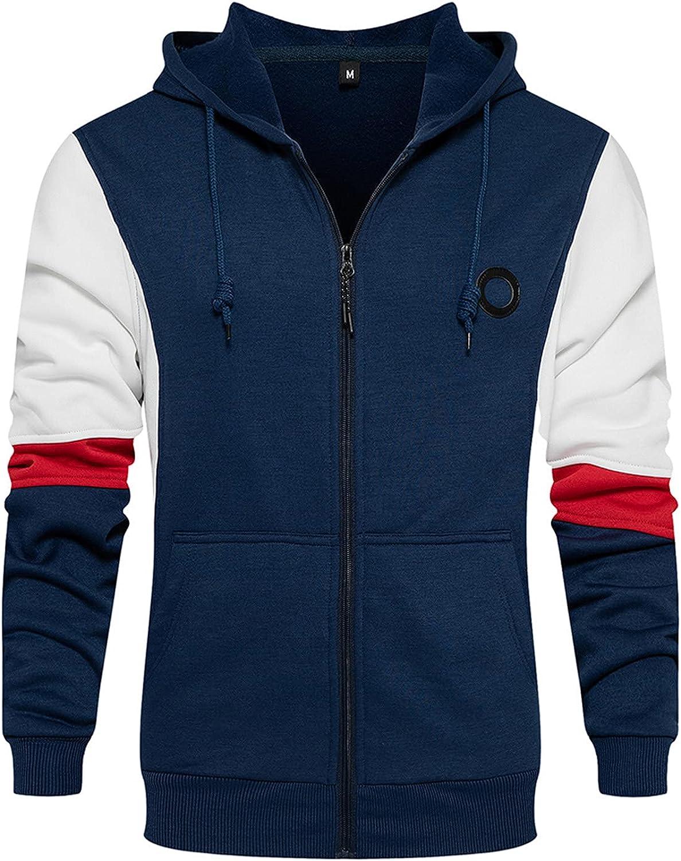 Mens Hooded Sweatershirts Long Sleeve Patchwork Top Novelty Hoodie Full-Zip Blouse with Pocket Lightweight Sweatshirt