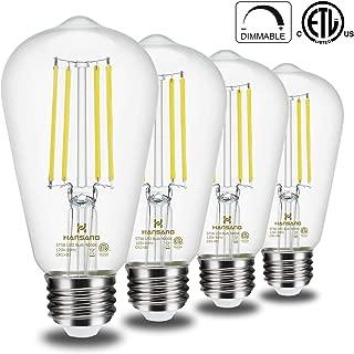 Vintage Edison LED Light Bulbs Dimmable Hansang E26 Medium Base 4000K Daylight 6W(60 Watt Equivalent) ST58 Clear 800LM Glass Shape Antique Filament Classic Light Bulb 4 Pack …