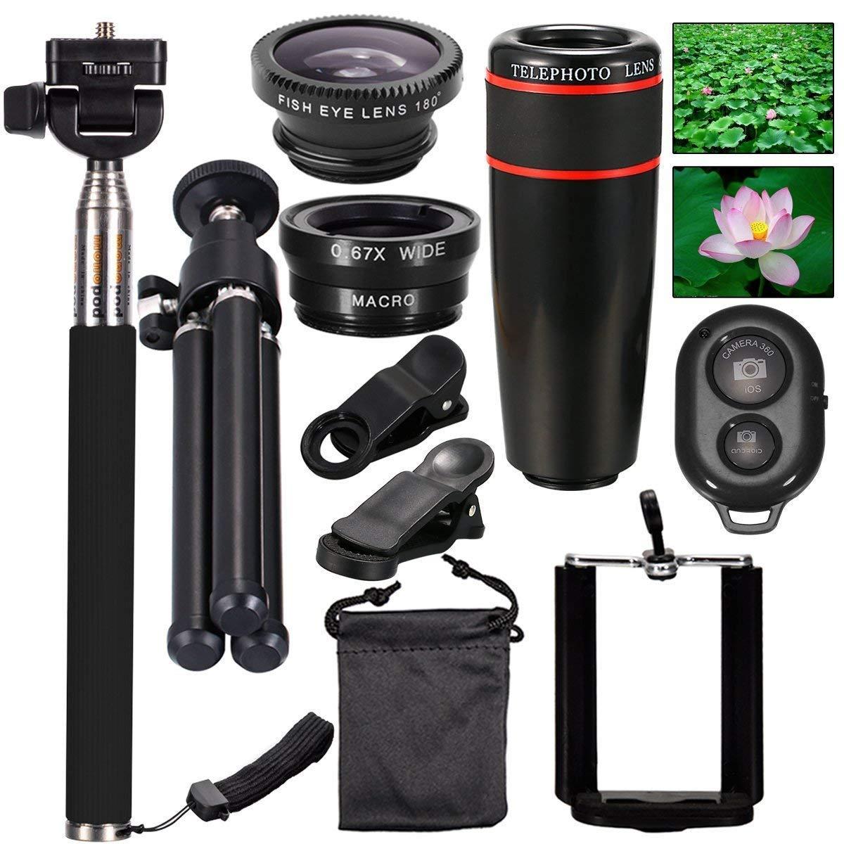 AnKooK lentes de cámara Kit 10-en-1, 8x teleobjetivo / Ojo de Pez ...