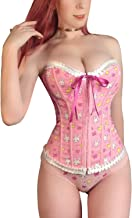 LittleForBig Women's Lace Up Boned Overbust Corset Bustier Bodyshaper Top - Usagi Moon Pattern
